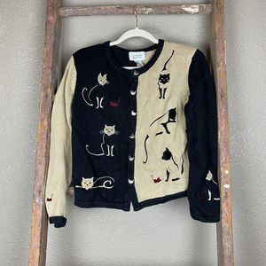 Vintage Cat & Mouse Kitten Cardigan S